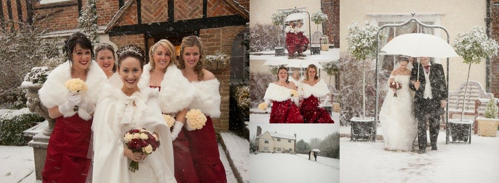 Winter wedding snow collage