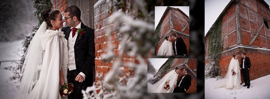 Winter wedding barn collage