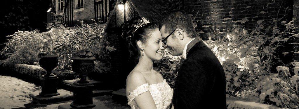 Winter wedding black and white