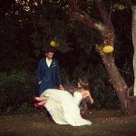 Bride on Bench under Tree