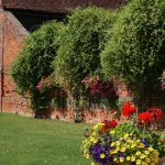 Overgrown Wall by Barn with flowers and grass at wedding venue essex