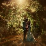 bride and groom hidden in trees