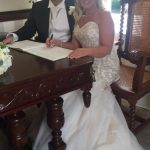 Bride and Groom book signing
