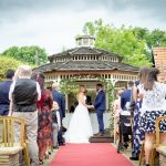Gazebo ceremony on sunny day wedding venue essex