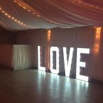 Individual Bulb Love decorative sign at wedding venue essex