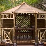 Wooden ceremonial gazebo at end of isle